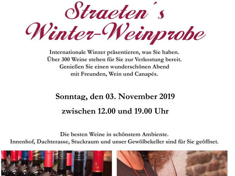 Straeten´s Winter-Weinprobe - 2019  Der Vorverkauf hat begonnen!